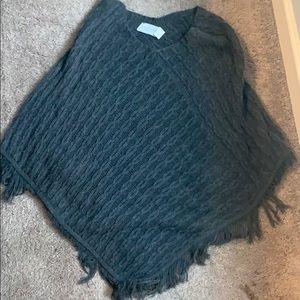 Grey Knit Poncho